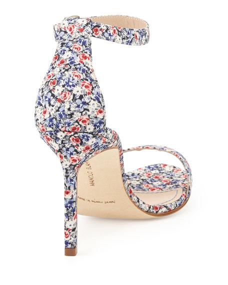 Chaos Floral-Print Ankle-Wrap Sandal