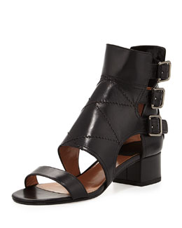 Flo Triple-Buckle Diamond-Stitched Sandal, Black