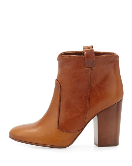 Pete Vintage Leather Western Bootie, Tan