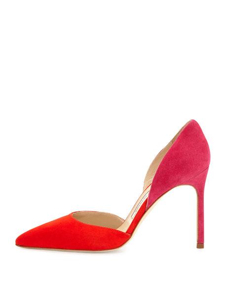 Tayler Bicolor d'Orsay Pump, Red/Pink