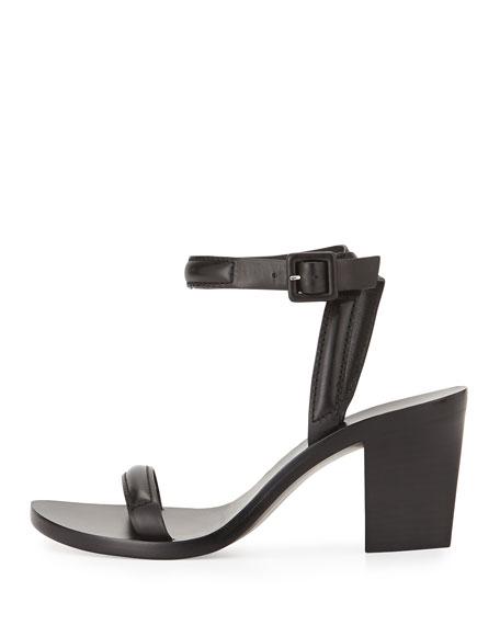 Ilva Piped Ankle-Wrap Sandal, Black