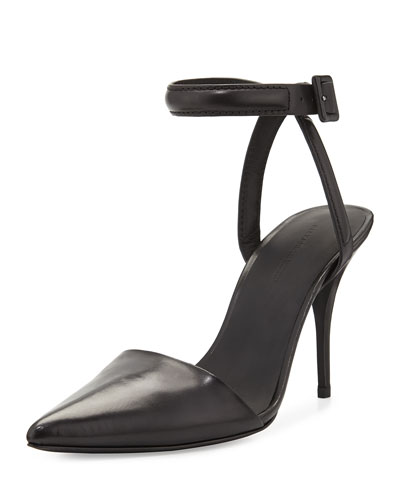 Lovisa Leather Ankle-Strap Pump, Black
