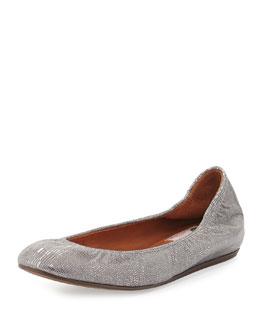 Metallic Lizard-Embossed Ballet Flat, Silver