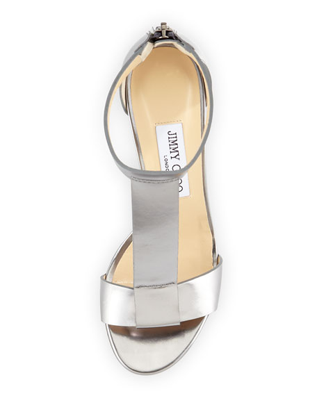 Milan Metallic Wedge Sandal, Silver