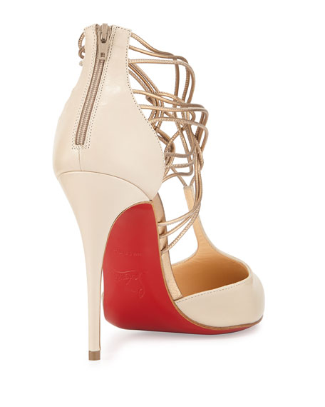 Confusa Strappy Point-Toe Red Sole Pump, Ivory