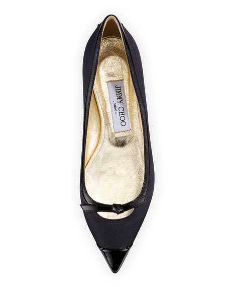 Grane Pointed-Toe Ballerina Flat, Black