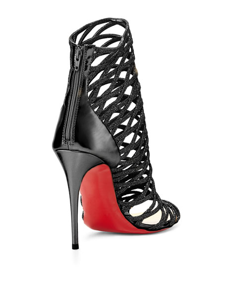 Mille Cinque Glitter Lattice Red Sole Bootie, Black