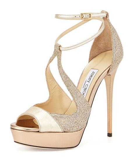 Valdia Strappy Platform Sandal, Gold