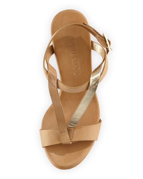 Native Leather Wedge Sandal, Neutral