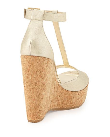Pela Metallic T-Strap Wedge Sandal, Champagne