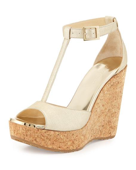 Wedge Pela Strap Sandal T Metallic Champagne kXZiOuP