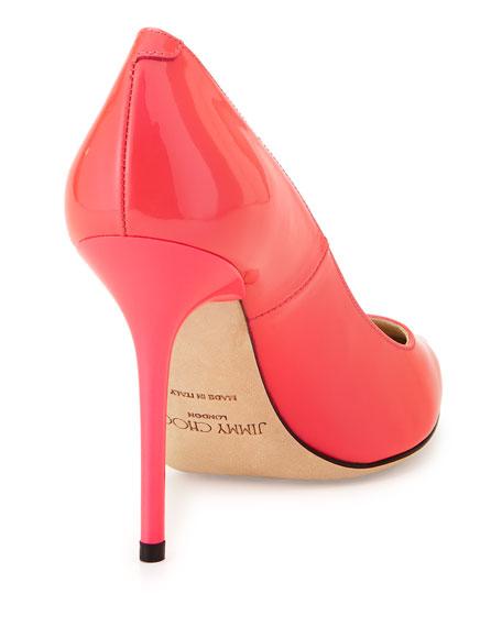 Abel Point-Toe Patent Pump, Pink