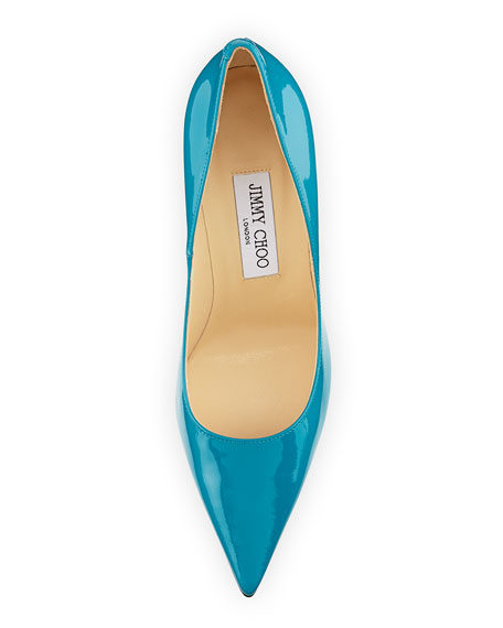 Abel Point-Toe Patent Pump, Turquoise