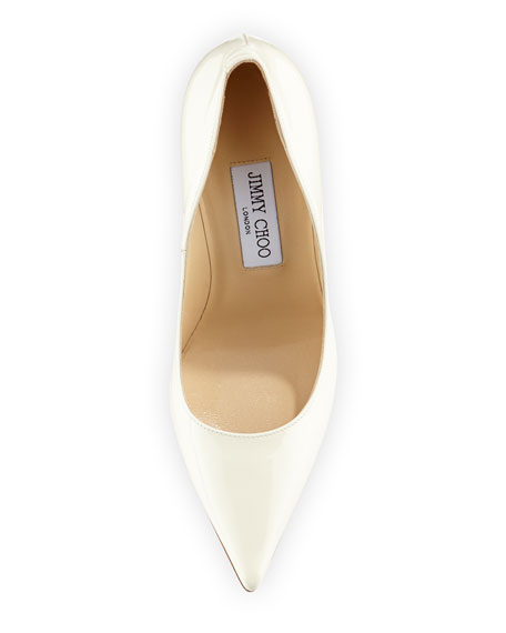 Abel Point-Toe Patent Pump, Off White