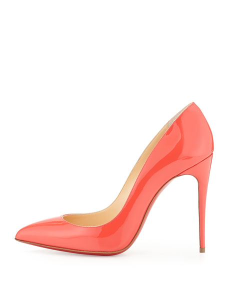 Pigalle Follies Patent Point-Toe Red Sole Pump, Orange
