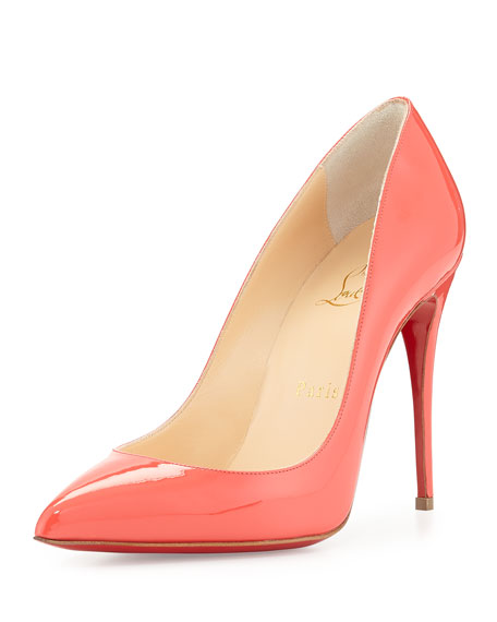 f331376b6ea Pigalle Follies Patent Point-Toe Red Sole Pump Orange