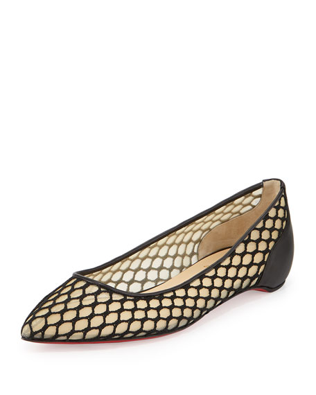 1bbca9198e4 Christian Louboutin Pigaresille Mesh Red Sole Flat