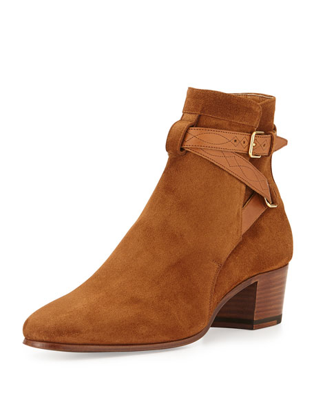 Blake Suede Belted Bootie, Tan