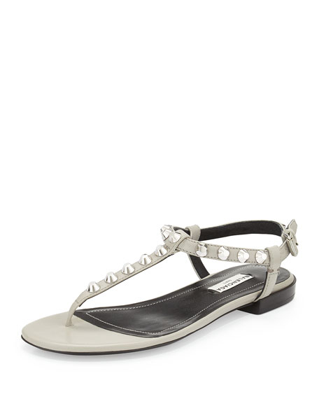 Studded Leather T-Strap Sandal, Gray