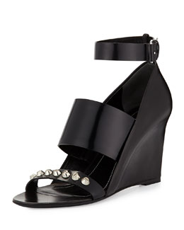 Studded Wedge Sandal, Black