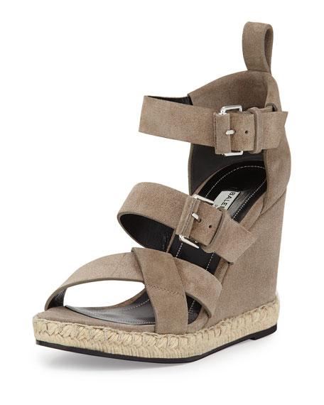 a2bfd0ceab47 Balenciaga Suede Espadrille Wedge Sandal