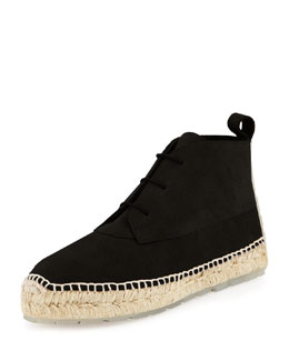 Suede Espadrille Ankle Boot, Black