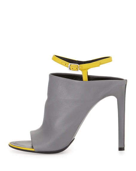 Contrast Ankle-Strap Mule Sandal, Gray