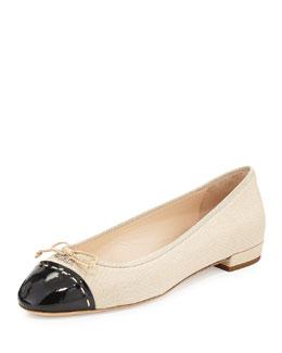 Linen Cap-Toe Ballet Flat, Camel