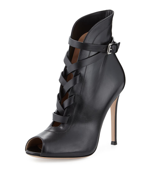 Peep-Toe Leather Lace-Up Bootie, Black