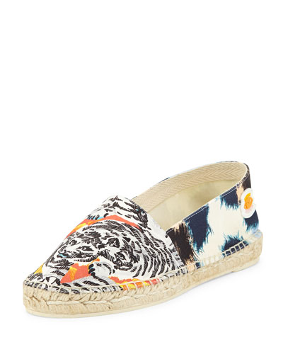 Tiger-Print Canvas Espadrille Flat, White/Peach
