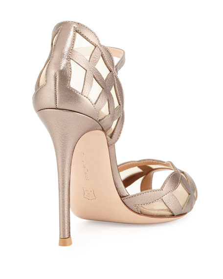 Metallic/Mesh Peep-Toe Sandal, Gold