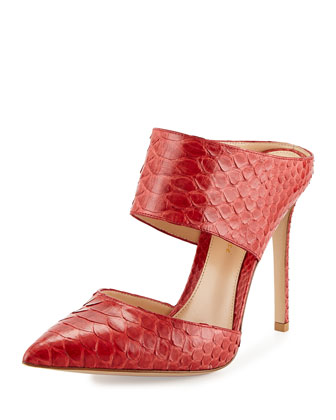 Gianvito Rossi Point-Toe Python Mule, Red