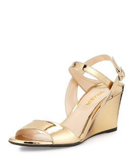 Patent Leather Wedge Sandal, Gold