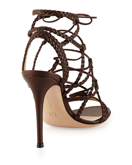 Braided Leather Lace-Up Sandal, Medium Brown