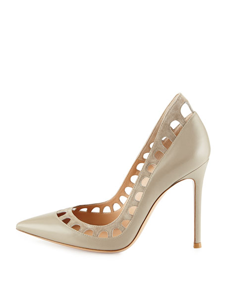 Cutout-Collar Leather Pump, Sand