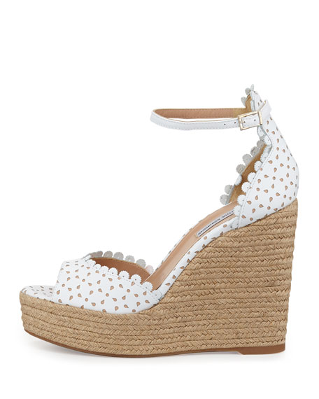 Harp Perforated Scalloped Leather Wedge Sandal, White