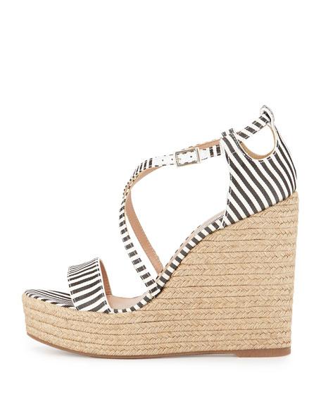 Jenny Striped Crisscross Wedge Sandal