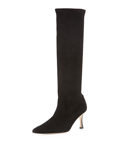 Pascalare Stretch-Suede Point-Toe Knee Boot, Black