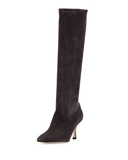 Pascalare Stretch-Suede Point-Toe Knee Boot, Dark Gray