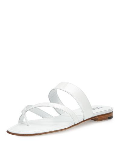 Crisscross Patent Thong Sandal
