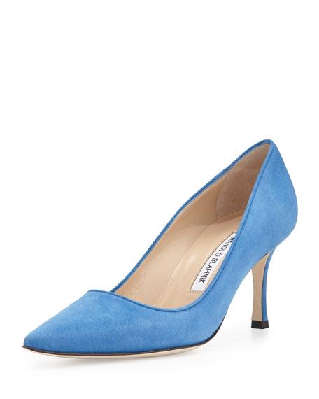 ca279afa6df03 ... official manolo blahnik newcio mid heel suede pump blue 1413a 6b932