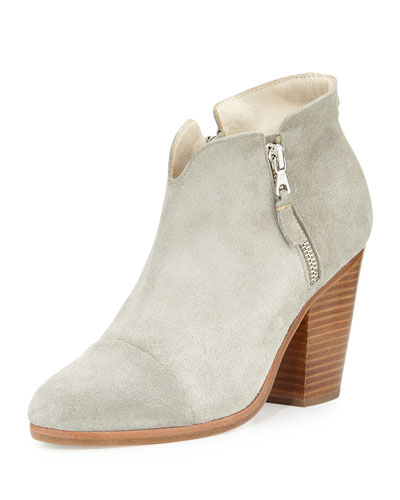 Margot Suede Cap-Toe Ankle Boot