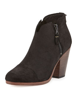 Margot Leather Ankle Bootie, Black
