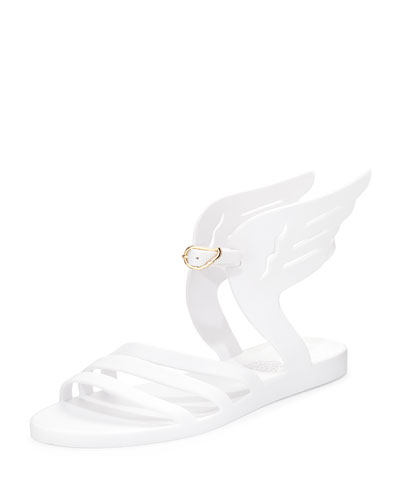 Ikaria Winged Flat Jelly Sandal, White
