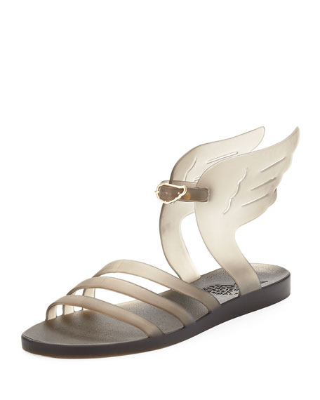 Ikaria Winged Flat Jelly Sandal, Gray