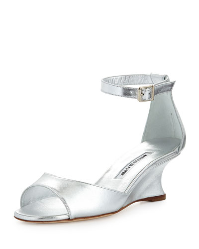 Cobras Metallic Demi-Wedge Sandal, Silver
