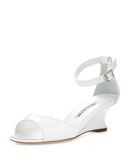 Cobras Patent Demi-Wedge Sandal, White