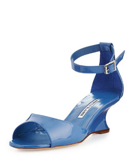 Cobras Patent Demi-Wedge Sandal, Blue