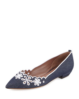 Daisy Chain Laser-Cut Denim Skimmer, Blue