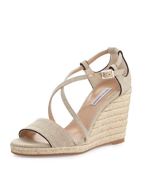 Liu Crisscross Wedge Sandal, Beige